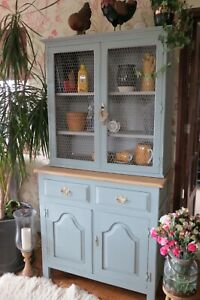 Rustic, Solid Pine farmhouse Kitchen dresser, display cabinet in duck egg blue.