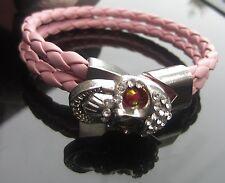 In ecopelle rosa intrecciato corda in pelle 4 mm Corda Braccialetto con Fibbia Teschio SP