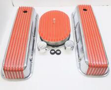 BB CHEVY POLISHED TALL ORANGE  FIN VAL COVER /FULL FIN BREATHER BM COMBO