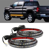 "2x 60"" White/Amber Running Board Side Step LED Light Strip Turn Signal DRL Bar"