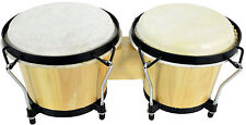 "TUNABLE NATURAL WOODEN BONGOS 7.5"" DIAMETER TUNABLE HIDE TUNING KEY INSTRUMENT"