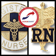 New Registered Nurse RN Round Emblem Pin + RN Caduceus Pin Set 2 Pieces FreeShip