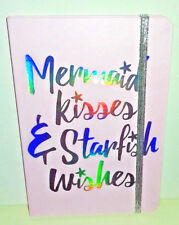 A5 NOTEBOOK MERMAID WISHES & STARFISH KISSES Pale Pink HOLO TEXT Silver Elastic