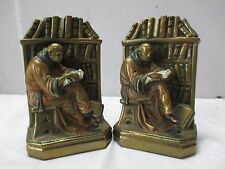 Pair of Vintage Bookends - Bronze Clad - STUDIOUS MONK - Reading