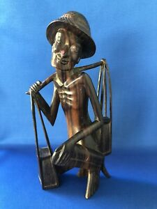 Wooden Wood Carved Peasant Man Rice Field Worker Carrying Bags Detailed Carving