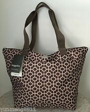 NWT Baggallini nylon crusher tote purse bag special edition brown beige pink