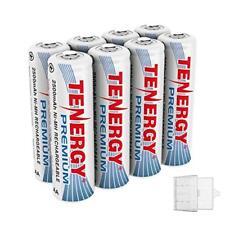 Tenergy 8PCS AA 2500mAh High Capacity Premium NiMH Rechargeable Batteries+2 Case