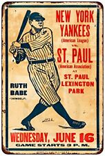 "1926 NY Yankees and Babe Ruth vs. St. Paul Rustic Retro Metal Sign 8"" x 12"""