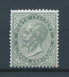REGNO 1863-65 N.L16 EFFIGIE DE LA RUE 5 c. GRIGIO VERDE MNH ++ SIGLA