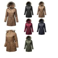 FashionOutfit Women's Solid Sherpa Lining Fur Trimmed Hoodie Long Jacket