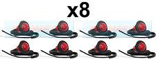 8X 12V / 24V POSTERIORE ROSSO SMALL ROUND LED pulsante Marcatore Lampada / Luci CAMION UNIVERSALE