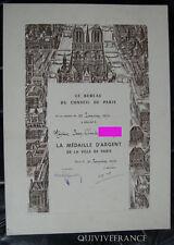 DIPLOME MEDAILLE D'ARGENT VILLE DE PARIS 1976