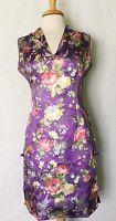Short Sleeve Modern Chinese Cheongsam Qipao Summer Fashion Dress Purple Color
