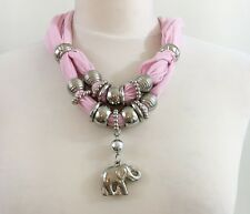 Beautiful Ladies Scarf Ring and Elephant Pendant Set Assorted Rings Silvertone