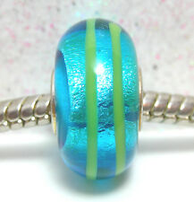 'AZURE FOIL RIBBON' -Turquoise Foil Murano Glass European Bead Charm-Single Core