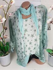 Tunika 2tlg Shirt Bluse Sterne Stars Tuch grün creme Vintage 44 46 48 @