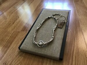 "NWT Uno de 50 Twisted Silver-plated Choker Necklace/Medallion/Pearl ""Full Moon"""