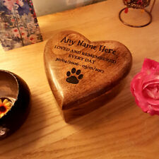 Ashes Box Heart Shaped Wooden Dog Urn Cremation Box Personalised Pet Box