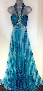 Exquisite Scarlett Blue Halter Embellished Evening Occasion Prom Maxi Dress 8