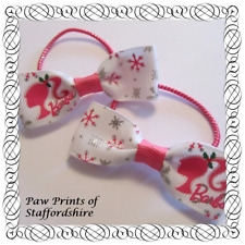 Barbie Hair Bows - Clips Or Bobbles U Choose - Barbie Pink & Silver Snowflakes