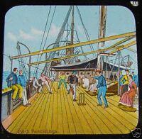 RARE Glass Magic lantern slide P & O PENCILLINGS NO 10 C1890 STEAM SHIP