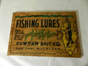 VINTAGE ADVERTISING SIGN- PAW PAW BAIT CO. WOODEN SIGN- VINTAGE FISHING SIGN