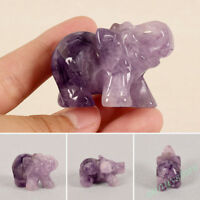 Natural Carved Crystal Elephant Figurine Lucky Animal Stone Home Office Decor