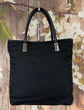 Gucci Tote Handbag Black Canvas Leather Trim Vintage