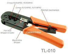 Heavy-Duty RJ45, RJ12, RJ11 Ratchet Crimping/Stripping/Cutting Tool