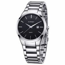 Curren Fashion Stainless Steel Date Waterproof Sport Mens Wrist Quartz Watch AU Silver & Black
