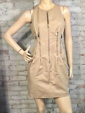 Michael Kors Dress 4 (S) Tan Day Khaki Chino Zipper Detail Cotton