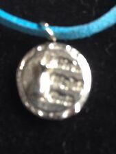 """Girls Night Out Disc TG217 Fine English Pewter On 18"""" Blue Cord Necklace"""
