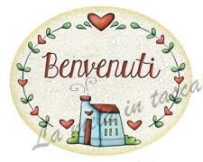 Targa targhetta ovale decorativa country legno per porta con frasi BENVENUTI