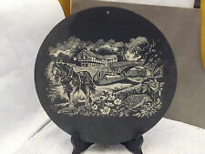 WALL HANGING SLATE PLAQUE WITH A HORSE DRAWN CANAL BARGE BLACK & WHITE PUB