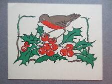 Vintage CHRISTMAS Greetings Card Cute Robin Bird & Holly 1950s Sunjoy