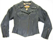 ViNtAgE women's HARLEY DAVIDSON Leather Jacket HOG 36 M Medium BLACK Zip Up