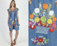 Vintage Blue Mexican Dress Bright Floral Embroidered Shift Tank Coverup Mini