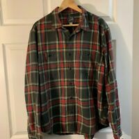 J.CREW NY Men's XL Navy Red Tartan Plaid Button Front Flannel Shirt 100% Cotton
