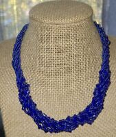 """Vintage, Blue, glass seed bead necklace, choker 17"""", excellent condition"""