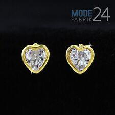 Damen Ohrringe Ohrstecker echt 333 Gelb Gold Zirkonia Herz 0,66 ct.