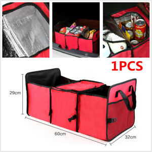 Car SUV Trunk Organizer Foldable Storage Bag Collapsible Cargo Box Portable Red