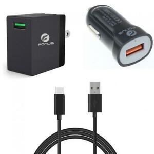 3-IN-1 COMBO ADAPTIVE FAST HOME CAR CHARGER 6FT LONG USB CABLE for SMARTPHONES