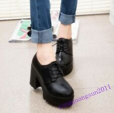 Retro Ladies Shoes Lace Up High Platform Chunky Heels Work Black Round toe Ankle