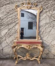 Maestosa consolle con specchiera Luigi XVI, laccata e dorata a foglia