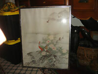 Japanese Chinese Painting Print Birds Of Paradise Flowers Framed Large