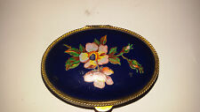 Vintage Metal Snuff Box With Hand Painted Porcelain
