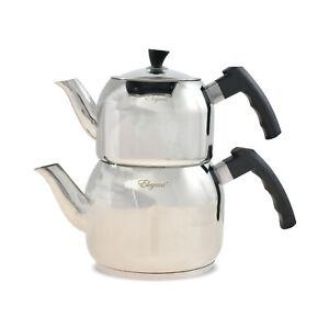 Türkischer Teekanne 3,25 Liter Edelstahl 18/10 INDUKTION Caydanlik Teekannen Set