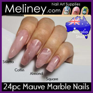 24pc Mauve Marble Full Cover Nails DIY Manicure Press On Nail Tips Water Pink