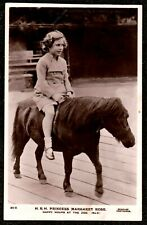 """1935 PRINCESS MARGARET ROSE ON PONY """"HAPPY HOURS AT THE ZOO"""" REAL PHOTO POSTCARD"""