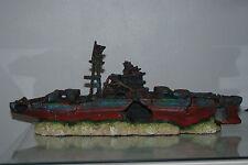 Aquarium Large Battle Ship Destroyer & Rock Base For Aquariums 46 x 10 x 17 cms